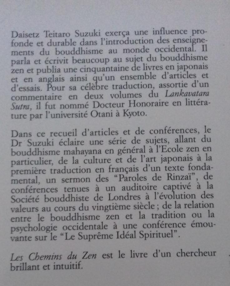 (391.2) Daisetz Teitaro SUZUKI - Les chemins du Zen